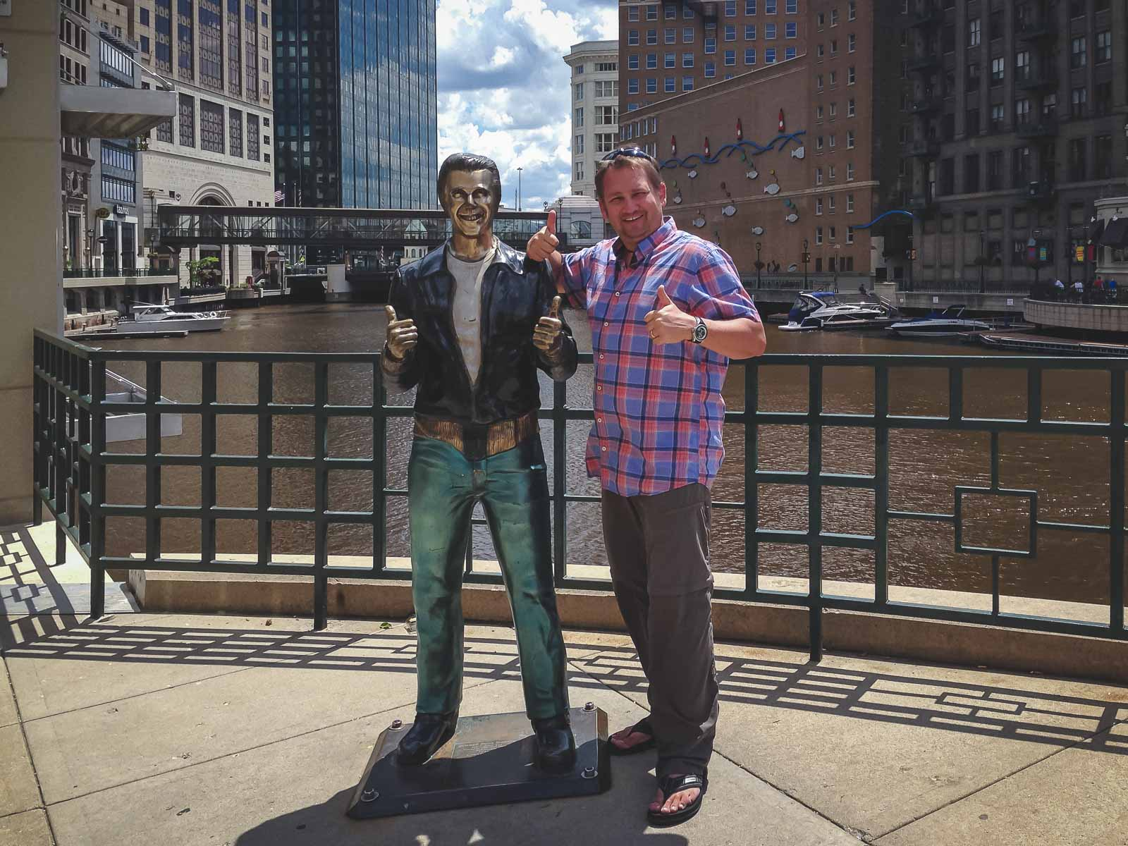 The Fonz statue in Milwaukee